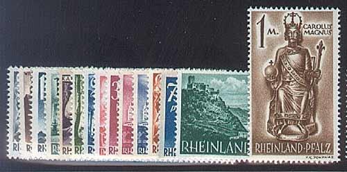 Goldhahn Französische Zone Rheinland-Pfalz Nr. 1-15