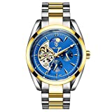 MagiDeal Luxury TEVISE Automatic Mechanical Watch Stainless Steel Link Band Skeleton Sun Moon Phase Sports Business Mens Wristwatch - gold and blue