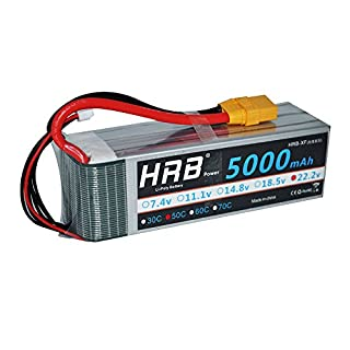 HRB 5000mAh 50C-100C 6S 22.2v RC Lipo Battery XT90 Plug For DJI ALIGN T-REX550/600 Airplane RC Quadcopter Airplane Helicopter Car Truck (XT90 Plug)