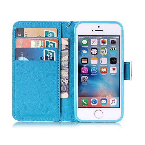 Cuir Portefeuille Coque pour Apple iphone 5 5S SE, Élégant iPhone 5S étui Rabat Style, iPhone SE Case, Joli Image Imprimé - Don't Touch My Phone Bleu-1