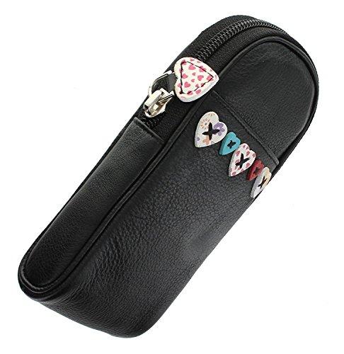 Mala Leder Lucy Herzen Design Zip Top Brillenetui mit Pocket Pocket-zip-design