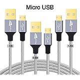 Royal flag  3 Pack cable usb 3.0 de Alta velocidad Nylon extremadamente duradero trenzado cable, Paquete de 3, Negro