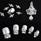 10pcs 3D Silver Crown Crystal Rhinestone Alloy Nail Art Glitters DIY Decoration