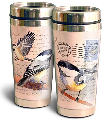 Vintage Bird Series 16oz Steel Travel Mug (Black Capped Chickadee Postcard) by American Expedition