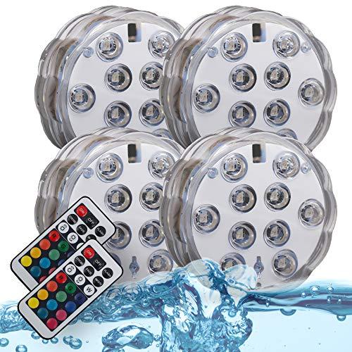 B.K.Licht LED Unterwasserlicht | Aquariumlicht | Unterwasserbeleuchtung | Teichbeleuchtung | inkl. Fernbedienung | Farbwechsel | RGB und Wasserdicht | 4er Set | Wasserbeleuchtung für Vase | Dekoration
