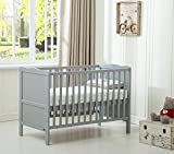 "MCC Grey Wooden Baby Cot Bed ""Orlando"" Toddler Bed Premier Water repellent Mattress"