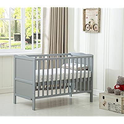 "Mcc® Grey Wooden Baby Cot Bed ""Orlando"" Toddler Bed Premier Water repellent Mattress (Orlando Grey) Vladon"