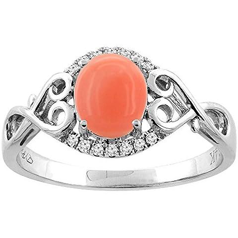 Revoni 14ct oro anillo de Coral Natural Oval 8 x 6 mm Diamante y acentos del corazón