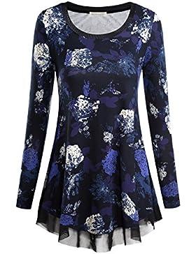 BAISHENGGT-Blusa Top para Mujer Cuello Redondo Mangas Largas
