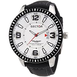 Sector Men's Quartz Watch with White Dial Analogue Display and Black Leather Strap R3251119006