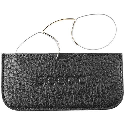 SEEOO Lesebrille Light black mit +2.0 Dioptrien Stärke - Brille zum Lesen für Damen und Herren - Bügelloser Lesebrillen Zwicker/Kneifer vom Optiker mit Echtleder Etui schwarz