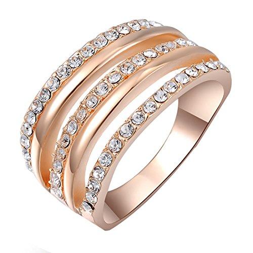joyliveCY 2016la moda mujer elegante Fancy oro rosa Trilateral Sticky anillo de diamante talla L 1/2