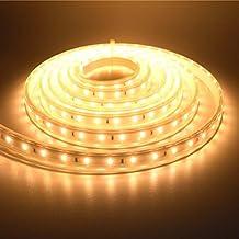 LUXJET 5M Tiras de Luz LED Strip IP65 Impermeable, 40W 220V Blanco Cálido 3000K SMD3528 300leds Para Hogar y cocina, Armario, iluminación de Interior y Exterior Decoración