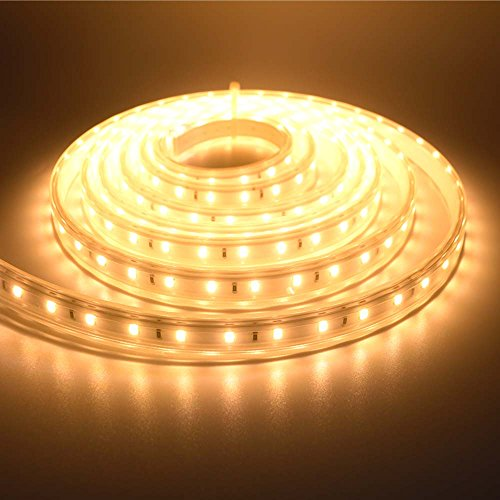 LUXJET 5M LED Strip Lights Warmwhite Rope Lights with 180 Super-Bright SMD LEDs,IP65 Waterproof Strip Light UK Plug 220V for Kitchen,Decking,Bathrooms,Plinth,Garden Decoration