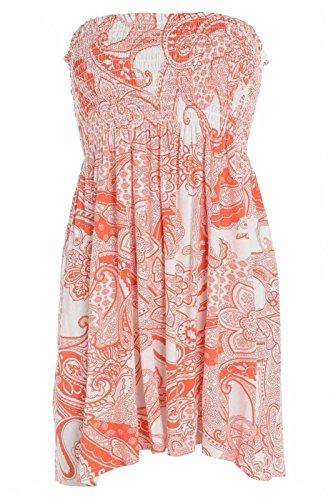 Fashion moins 4 pour femme Imprimé Sheering Plus longue bustier robe Haut débardeur 20 22 Rouge - paisley red