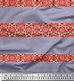 Soimoi Grau Satin Seide Stoff Streifen & Mandala