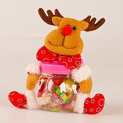 Vollter Navidad Tarro del caramelo del favor del regalo del polo del envase de la caja del reno de Santa (no incluidos los caramelos)