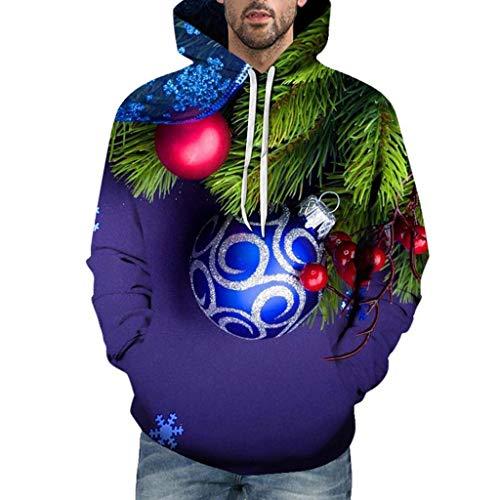 GOKOMO Weihnachtsmänner Casual 3D Print Langarm Kapuzenpullover Jacke Mantel(Navy Blue-1,XX-Large) (Kleinkind Wildes Kind Ninja Kostüm)