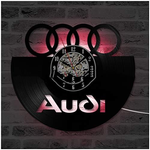 ZhangXF Audi Muster Hohl Vinyl Record Wanduhr, LED Leucht 12 Zoll Retro Vinyl Record Clock Dekoration Sieben Farben -