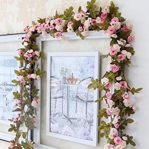 Omufipw Guirnalda de flores artificiales para casa, jardín, boda, fiesta, decoración de plantas, rosa, 2.3m
