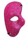 KIRALOVE Maschera metà Volto - Fantasma dell'opera - Colorata con Glitter - Costume - Travestimento - Carnevale - Halloween - Cosplay - Colore Fuxia