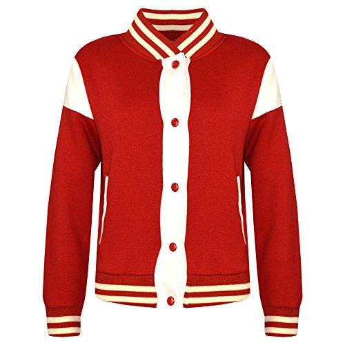 A2Z 4 Kids® Kinder Mädchen Jungen Baseball Jacke Varsity Stil - B.B Plain Jacket 001 Red 13 (Red Xiii Kostüm)