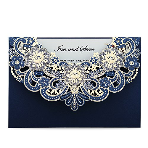 DORIS Home Navy Blau Laser geschnitten Flora Spitze Einladungskarten mit Umschlag für Hochzeitseinladungen, Bridal Dusche, Verlobung, Geburtstag, PARTY, Baby Dusche (50) Blue 50pcs