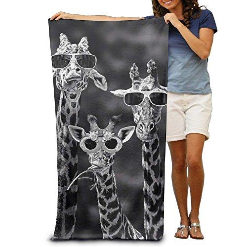 MeiMei2 Strandtuch mit Sonnenbrillen-Giraffen, 100% Polyester, 79 x 130 cm, dick, weich, schnell trocknend, leicht