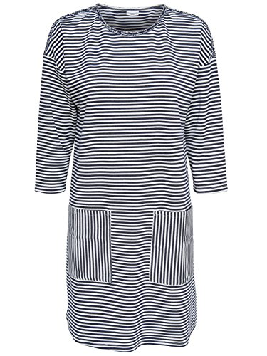 JACQUELINE de YONG Jdy Ladies 3/4 Sleeve Nautical Stripe Pattern Relaxed Crew Neck Jersey Sweater Dress