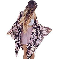 FEITONG Las mujeres de Boho de la impresión floral de la gasa floja Mantón kimono Cardigan cubierta superior hasta la blusa (XL)