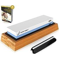 SharpPebble Piedra de afilar el cuchillo lateral 2 Grit 1000/6000 Whetstone mejor cuchillo de cocina Afilador Waterstone antideslizante de bambú base y guía de ángulo