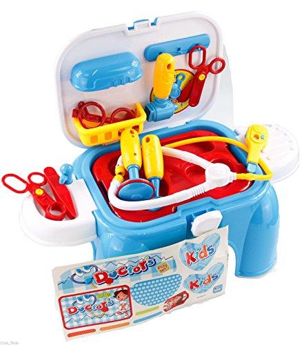 Sgabelli per bambini che contengono il necessario per giocare al dottore per cucinare gli attrezzi dellofficina e per truccarsi Doctor Play Set