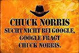 ComCard Chuck Norris sucht Nicht bei Google, Google fragt Chuck Norris Metal Sign tin Schild aus Blech