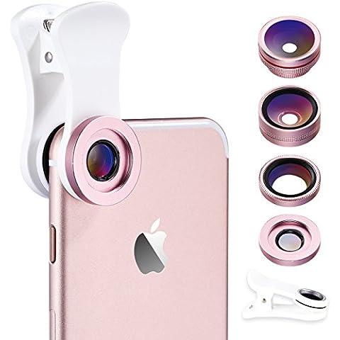 Benks 4in 1180° lente fish-eye + obiettivo grandangolare 120° Obiettivo + CPL + 15x Micro videocamera HD professionale Lens Kit - Alluminio Box Livello