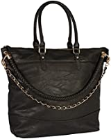 SIX schwarze Henkeltasche, Shopper, geflochten, Kette, goldene Details, Handtasche (427-062)