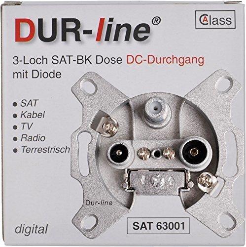 DUR-line Antennendose 3-Loch SAT | Kabelfernsehen | DVB-T | Radio | Unicable für Aufputz und Unterputz geeignet (Durchgangsdose, digitaltauglich)