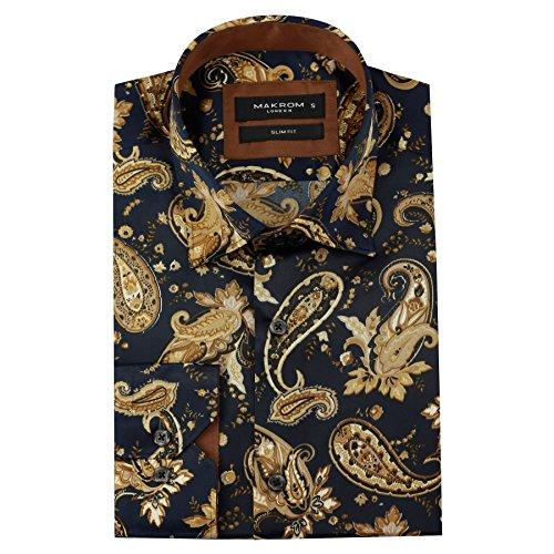 Herren-Hemd, reguläre Passform, italienisches Paisley-Design, perfekt für Trauzeugen etc., Seide, Gr. S–4XL, Blau / goldfarben Gr. Größe L, Blue & Gold (Seide Aus Hemden Italienische)