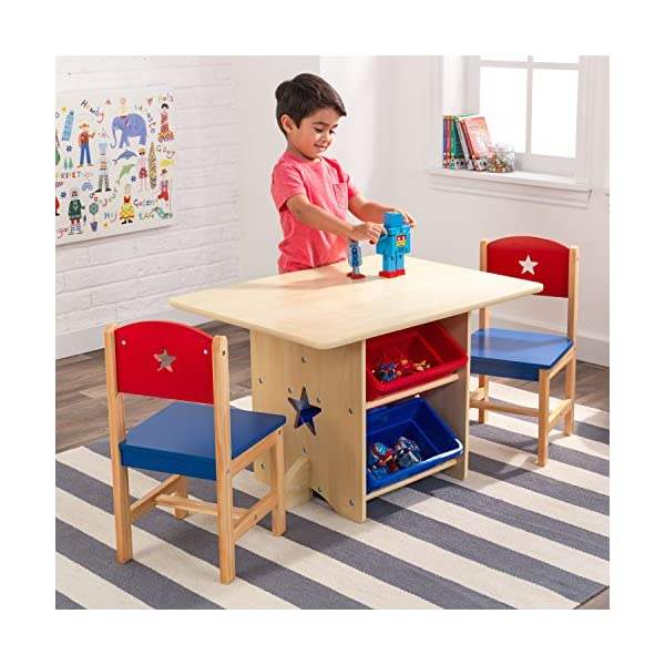 KidKraft 26912 Star Wooden Table & 2 Chair Set with storage bins, kids children's playroom / bedroom furniture - Red & Blue KidKraft Four convenient storage bins Bins can be reached from either side of table Star-shaped holes on table and chairs 5