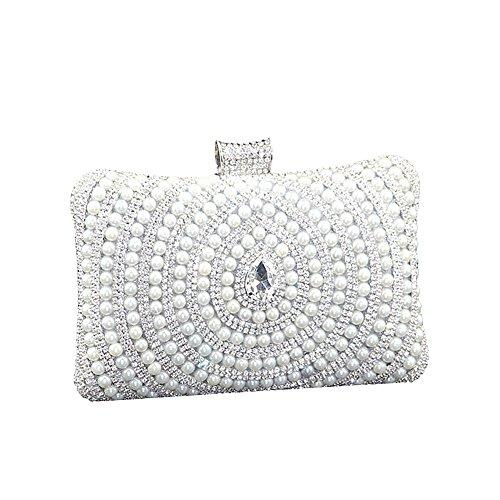 SSMK Frauen Perlen Perlen Rhinestone Clutch Bag Elegante Designer Damen Abendtasche (Silber)