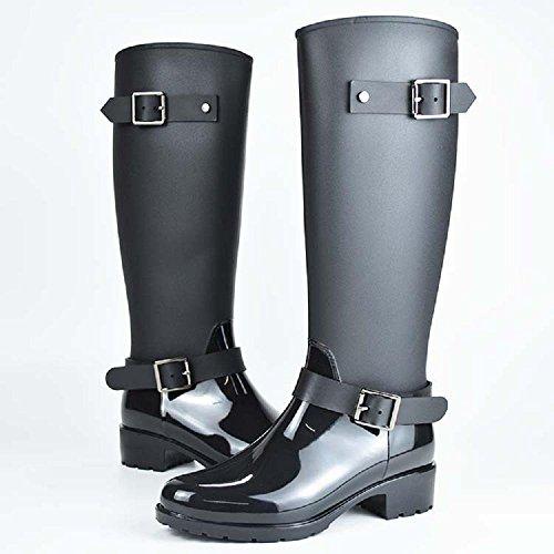 Mode Pour femmes ou fillettes Bottes de pluie Anti-dérapant Imperméable à l'eau Bottes d'équitation Black
