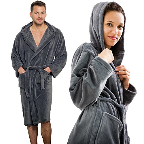 Close Up® Henry's Cozy Fleece Bademantel - Damen & Herren Morgenmantel, anthrazit / grau, Saunamantel Größen S - XL (M)