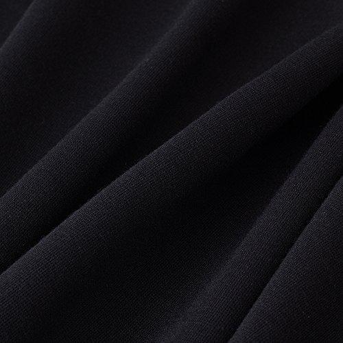 HOMEYEE Manchette 3/4 manches Vintage Bodycon Retro broderie robe de cocktail formelle B347 Noir