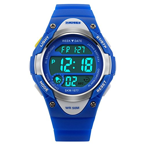 BesWLZ Sports Kids Backlight LED Digital Alarm Stopwatch Waterproof Wristwatch Childrens Watches Blue