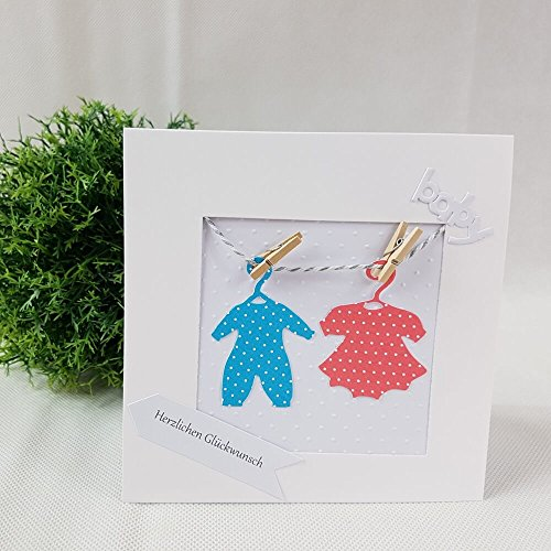 Glückwunschkarte ZWILLINGE Geburt Taufe BABY rosa & blau