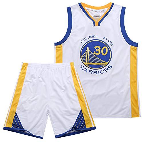 TFTREE Krieger Curry 30. Jersey Stickerei atmungsaktiv schweißabsorbierend Sommer Basketball Sportswear weiß, Unisex Basketball einheitliche T-Shirt Nähen Buchstaben gesetzt XXXL (Stickerei-buchstaben-software)