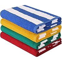 Toalla de piscina grande con toalla de playa e Cabana Stripe, paquete de 4, 100% algodón, cuidado fácil, máxima suavidad y absorbencia (76 x 152 centímetros) - con toallas Utopia (variedad)