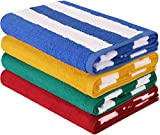 Utopia Towels Premium Quality Cabana Beach Towels - Pack of 4 Cabana Stripe Pool Towels (76 x 152 cm) - Multi Color Towels with High Absorbency (Variety)