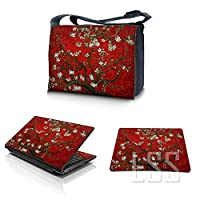 "LSS 17 17.3 inch Laptop Padded Compartment Shoulder Messenger Bag Carrying Case & Matching Skin Sticker & Mouse Pad for 16"" 17"" 17.3"" or Smaller Size Notebook - Red Almond Trees"