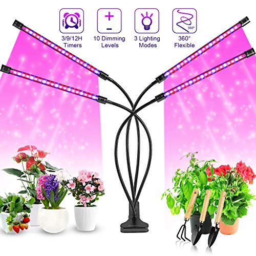 Pflanzenlampe LED, Pflanzenlicht, 40W Pflanzenleuchte, 4 Heads 80 LEDs Wachsen licht, Vollspektrum Wachstumslampe für Zimmerpflanzen mit Zeitschaltuhr, 3 Arten von Modus, 10 Arten von Helligkeit.