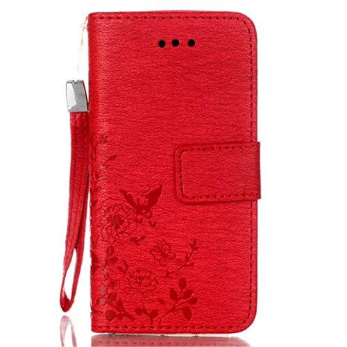iPhone 5S Coque, iPhone SE Coque, Lifeturt [ Blanc ] Leather Case Wallet Flip Protective Cover Protector, Etui de Protection PU Cuir Portefeuille Coque Housse Case Cover Coquille Couverture avec Fonct E02-Rouge